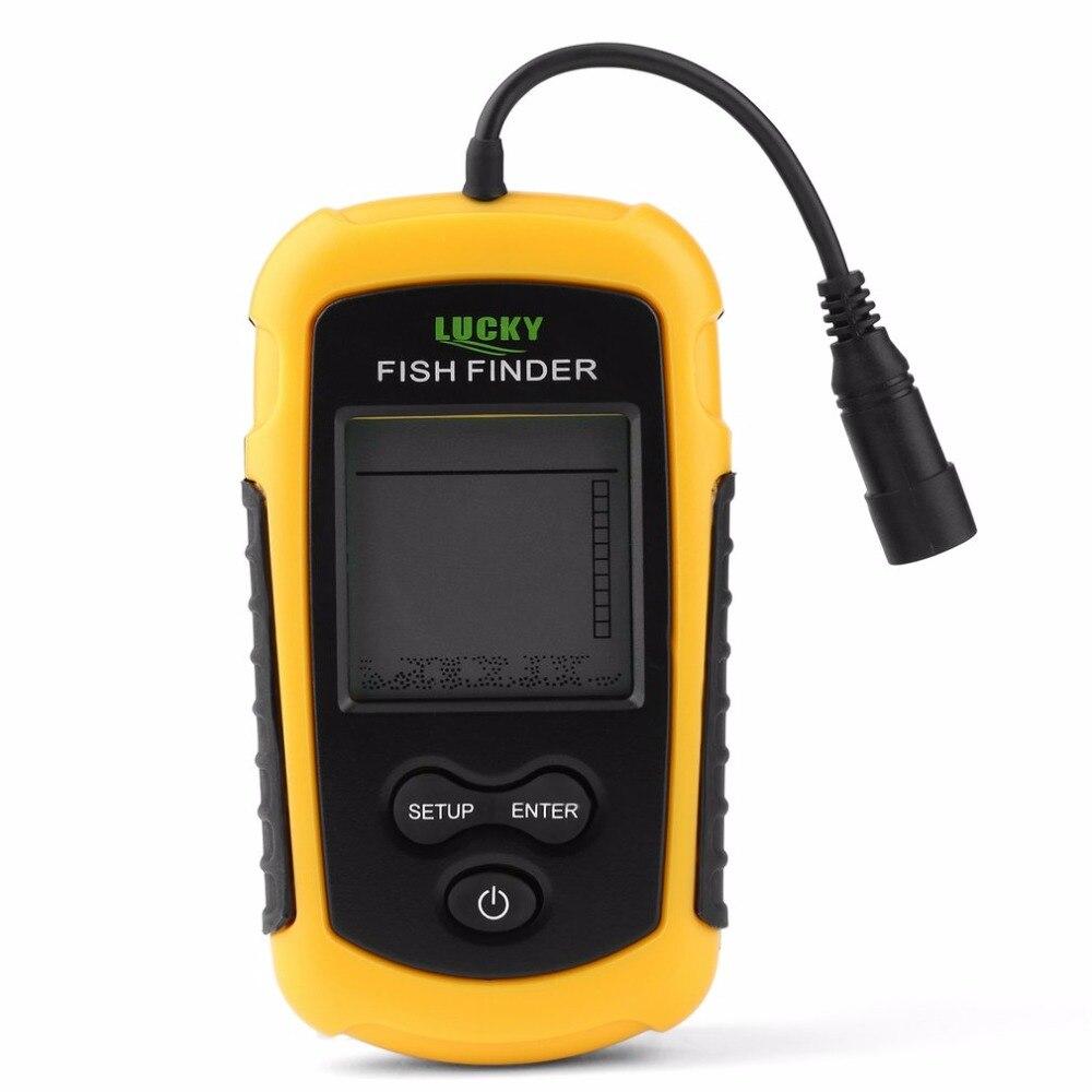 Портативный Рыболокаторы Sonar эхолот сигнализации преобразователя Fishfinder 0.7-100 м Рыбалка эхолот с Батарея с английским Дисплей