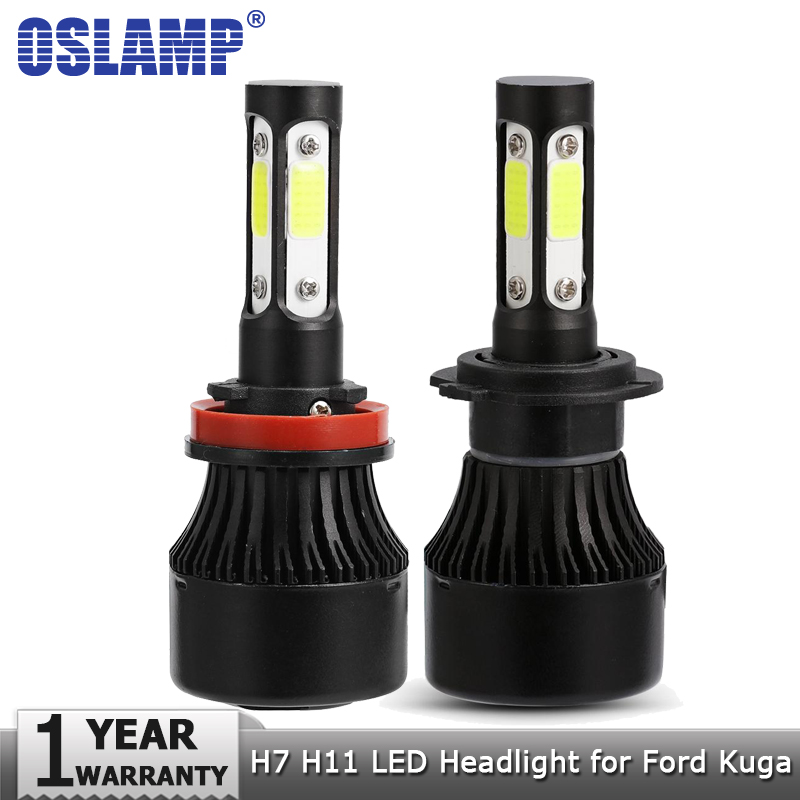 Oslamp 4 Side H7 Low Beam H11 High Beam LED Headlight Bulbs Car Light Bulb 100W 10000lm Auto Led Headlamp 12v 24v for Ford Kuga