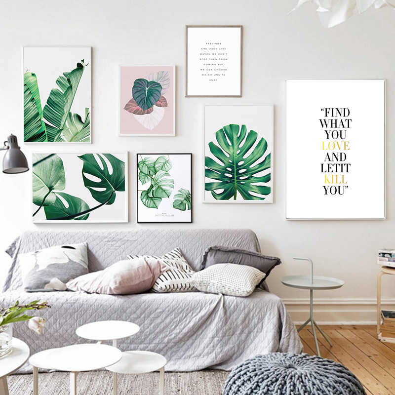 Nordic Style Green Leaves Poster Canvas Print Modern Wall Art Painting Picture Chic Wall Drawing Ornament For Cafe Bedroom Shop