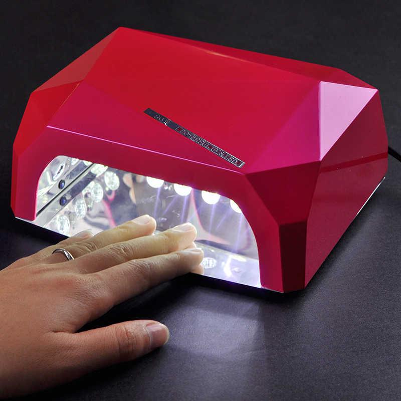Nuovo 36W sensore automatico asciuga unghie forma di diamante rosso LED lampada UV Gel lampada di indurimento popolare asciugatura Gel smalto strumento per unghie lampara