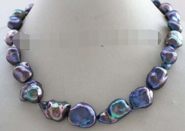 Free Shipping ~~ 11.24 Genuine Natural Black Reborn Keshi Pearl Necklace 14KGP Discount 35% цена