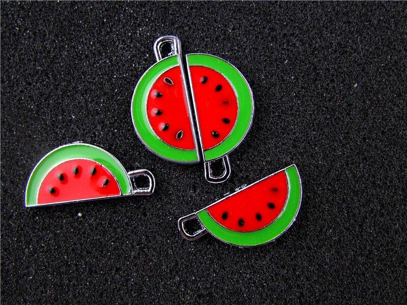 AE767 Mix Color 100Pcs Alloy Metal Enamel Watermelon Charms Pendant 25x12mm