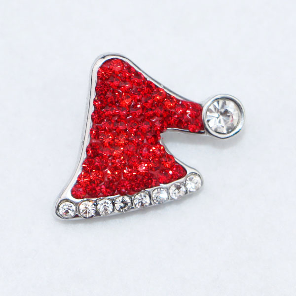 Newest christmas hat snap buttons 18mm red Crystal Ginger Snaps Button Charms fit snap button jewelry for women and men