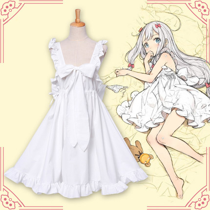 Japanese New Anime Eromanga Sensei Cosplay Costume Ero Manga Sensei Sagiri Izumi Nightgown Cosplay Pajamas Pyjamas White Dress