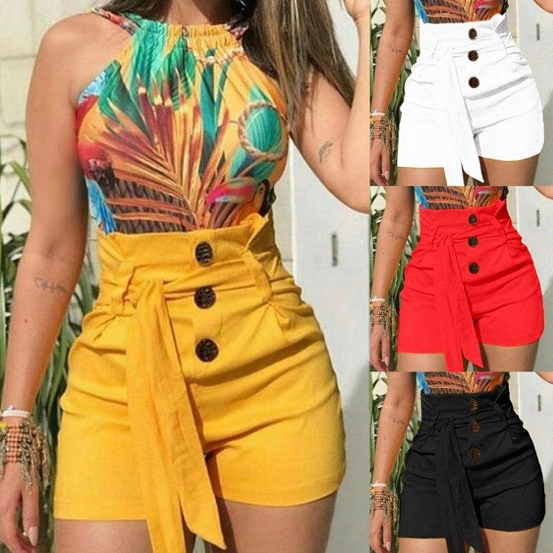 Women High Waist Shorts Button Slim Fit Beach Pantsfor Summer BMF88