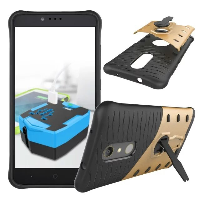For ZTE Max Pro Z981 Shockproof Rugged Armor Hybrid Case 360 Degree Stand Cover for ZTE Z981