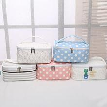 Women Cactus Stripe Dot Printed Zipper Tote Travel Makeup Co