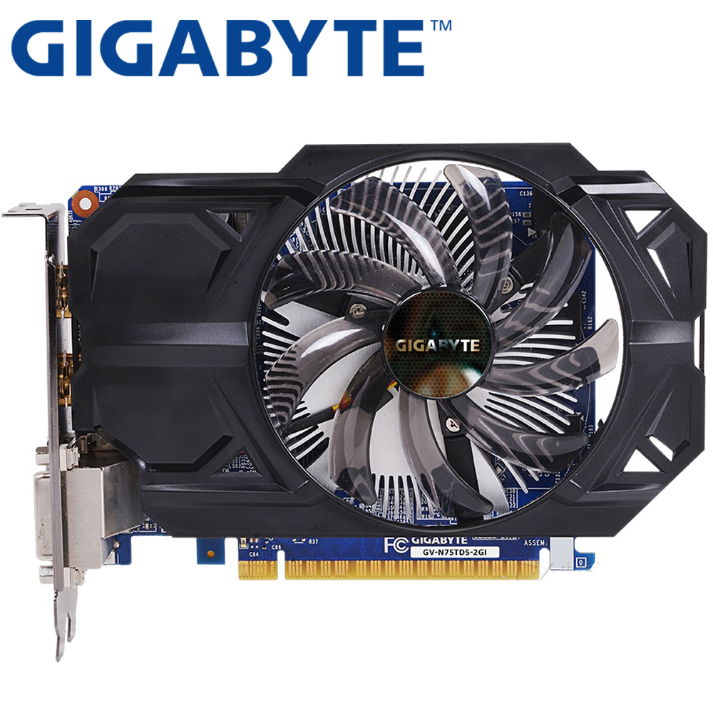 GIGABYTE Graphics Card Original GTX 750Ti 2GB 128Bit GDDR5 Video Cards for nVIDIA Geforce GTX750Ti Hdmi Dvi Used VGA Cards original used hd3650 512mb 216 0683013 graphic card for acer 4710 4920 4720 display video card gpu replacement tested working