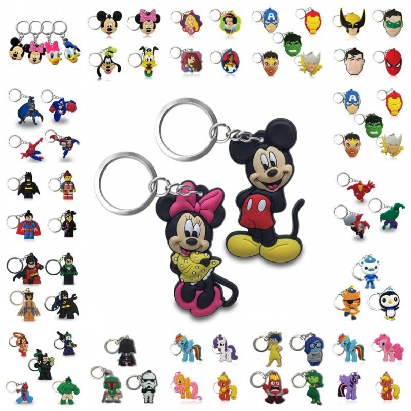 20PCS Keychain PVC Cartoon Key Chain Marvel Mickey Super Mario Anime Figure Key Ring Keychain Key Holder Fashion Charms Trinket