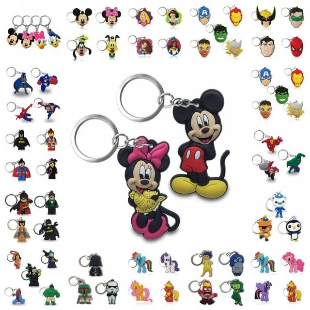 20PCS Sleutelhanger PVC Cartoon Sleutelhanger Marvel Mickey Super Mario Anime Figuur Sleutelhanger Sleutelhanger Key Holder Fashion Charms trinket