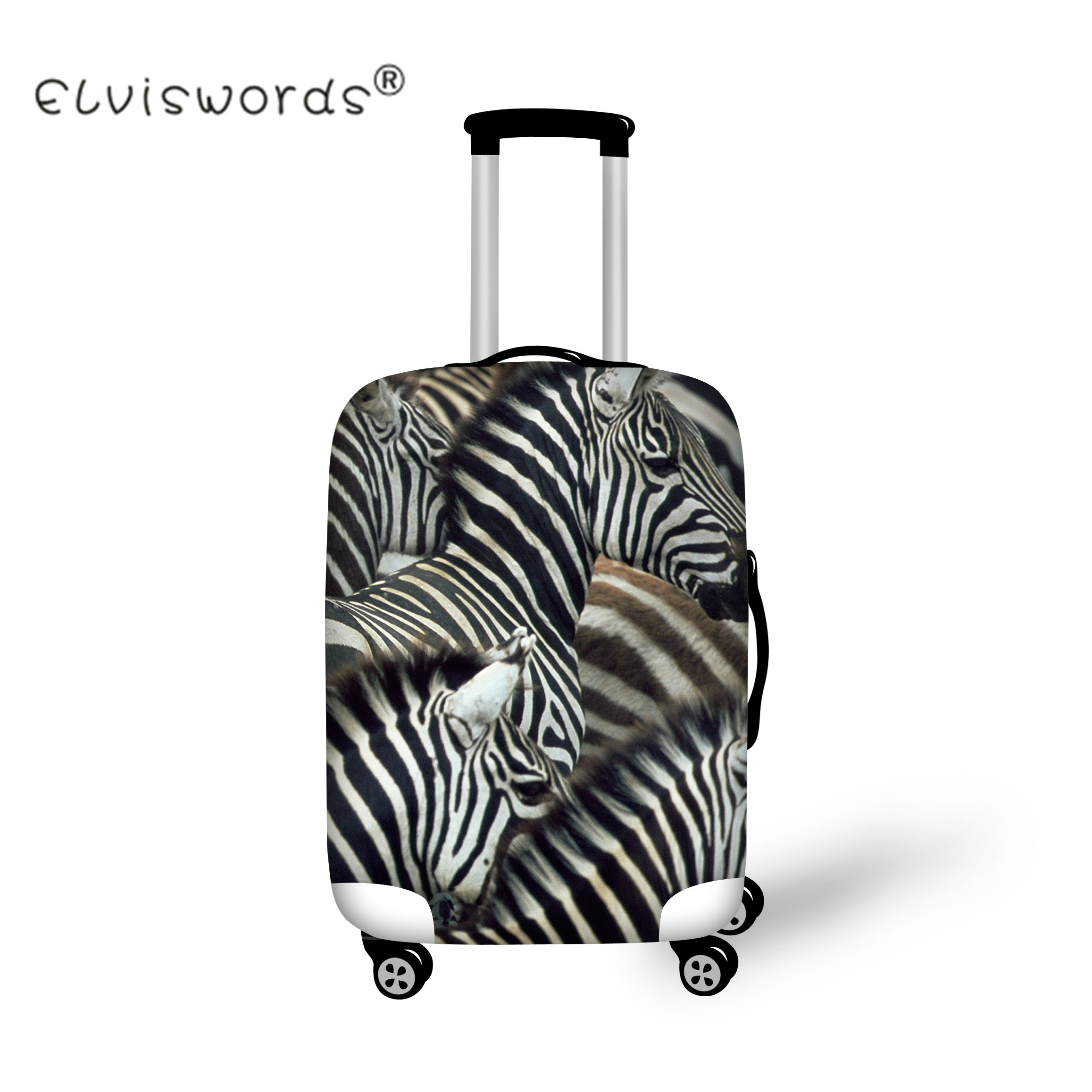 ELVISWORDS 3D Animal Zebra Horse Travel Luggage Protective Covers Suitcase Covers for 18-30 Inch Trolley Thick Dust Rain Cover