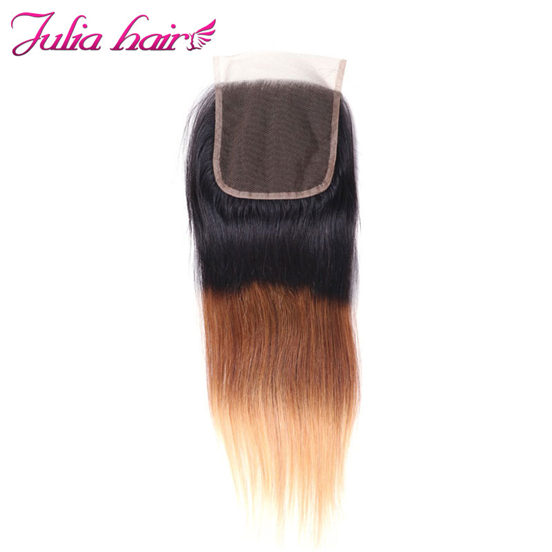 Ali Julia Brazilian Ombre Straight Closure 100 Human Hair Free Part 4 4 Inches Swiss Lace