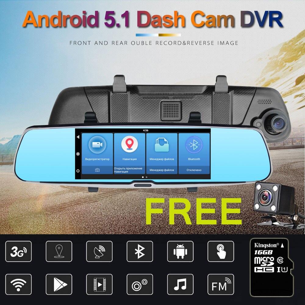Rythme 3G 7 voiture DVR Miroir Caméra Android 5.0 wifi GPS Full HD 1080 P Vidéo Enregistreur Double Lentille Greffier vue Arrière dvr Dash cam
