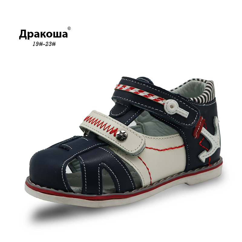 Apakowa New Real Genuine Leather Kids Boys Sandals Children Closed Toe Summer Shoes Cutout Boys Sandals Children Leather Sandals