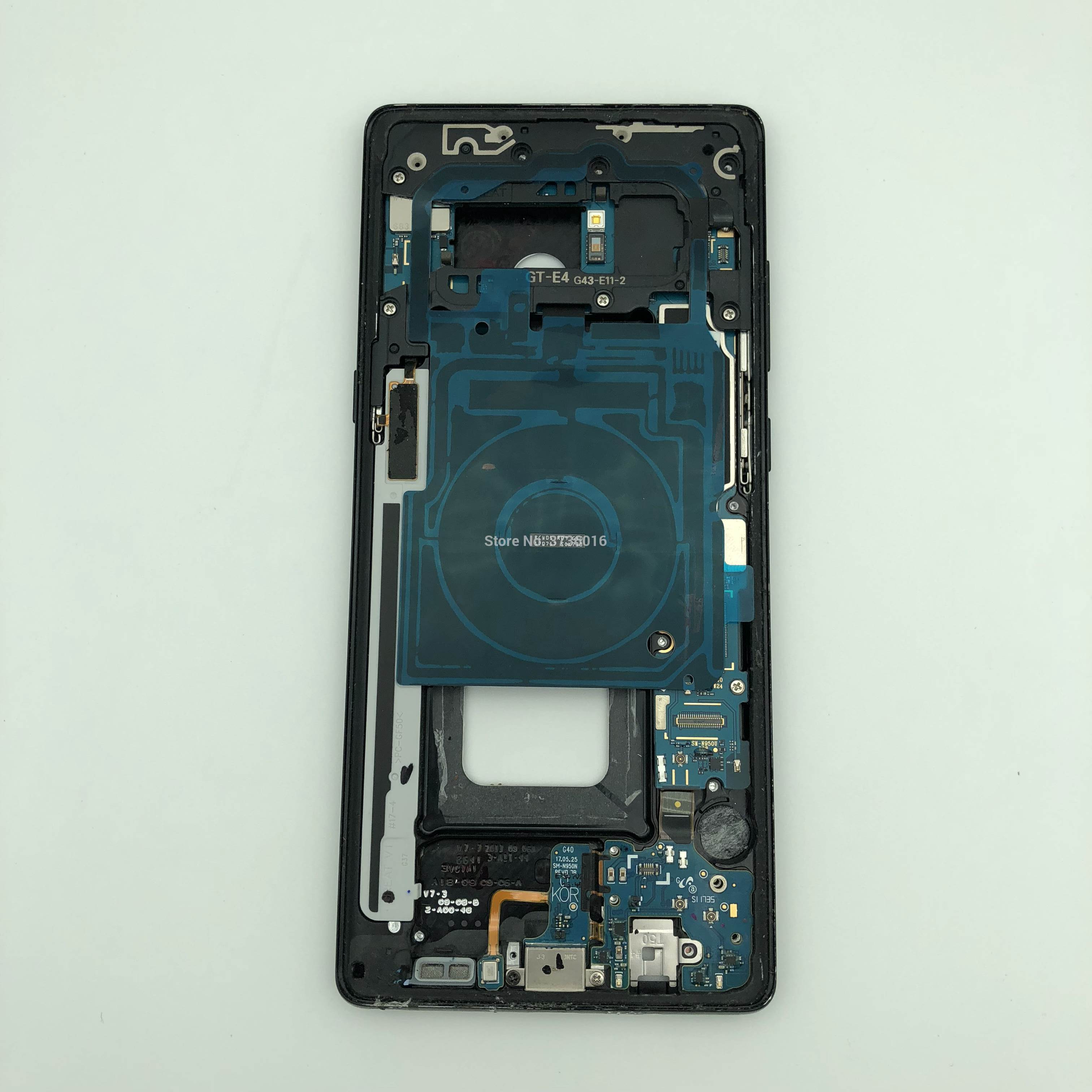 LCD Screen Testing <font><b>Motherboard</b></font> For SM <font><b>galaxy</b></font> <font><b>note</b></font> 4/<font><b>8</b></font> LCD Touch display test repair with middle housing frame and battery image