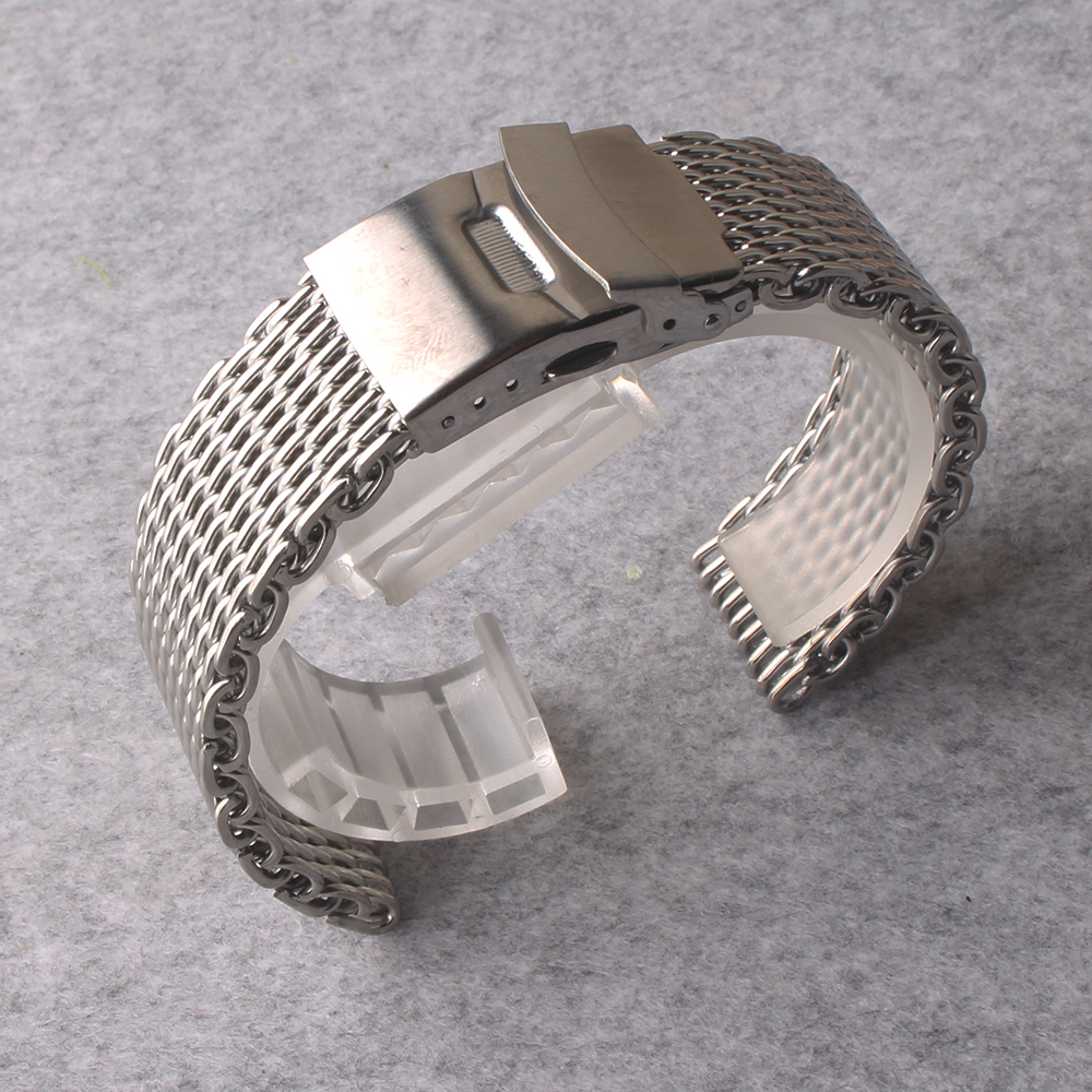 High Quality Watchbands 20mm 22mm Strap Band Safety Deployment buckle special ends shark Mesh silver metal watchband promotion loose stainless steel silver shark mesh watchband bracelets special end safety buckle 18mm 20mm 22mm 24mm promotion men s straps