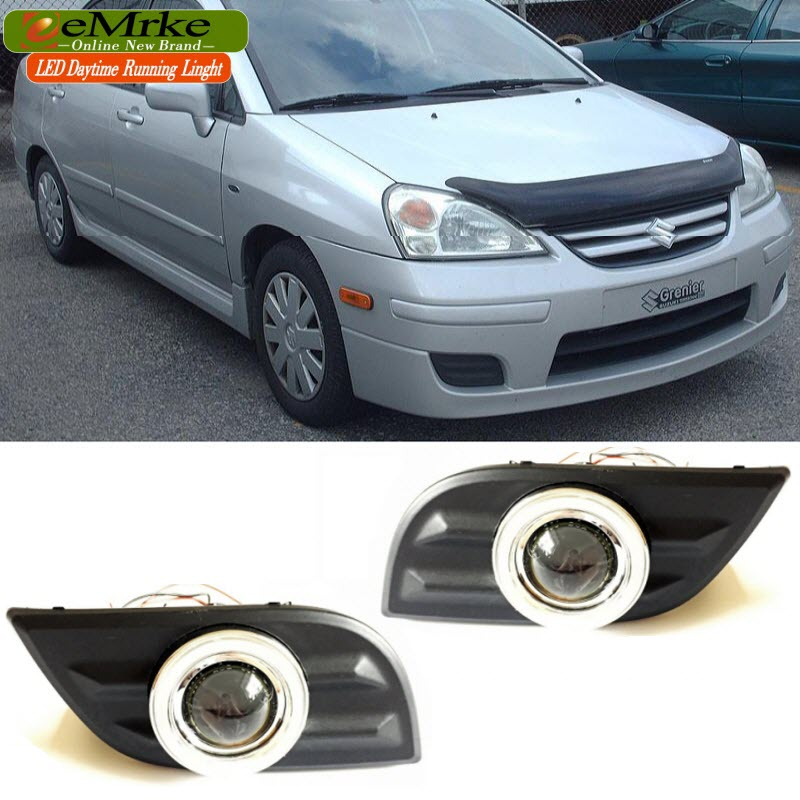 цены  EEMRKE LED Angel Eyes DRL For Suzuki Aerio Liana 2005 2006 2007 Fog Lights Daytime Running Lights H3 55W Halogen Cut-line Lens