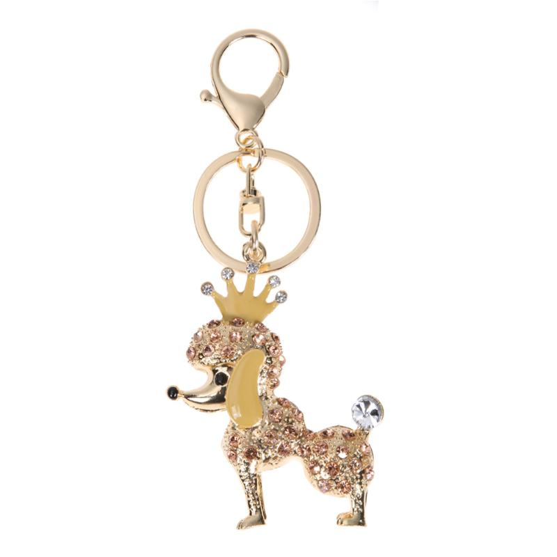 Full Crystal Crown Puppy Poodle Key Chain Bag Ornaments Car Pendant Gold,Silver
