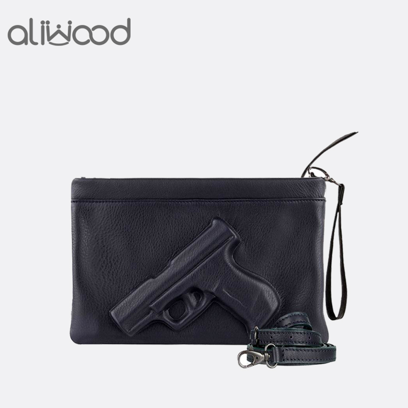 3D Print Gun Pistol Bag Brand Women Bag Chain Messenger Bags Designer Clutch Purse Ladies Envelope Clutches Crossbody Bag Bolsas figure print chain bag
