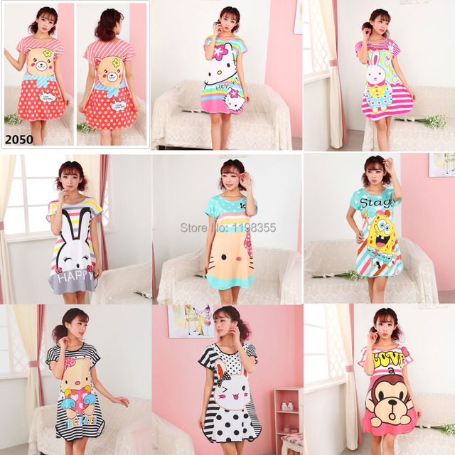 2ed5aba0f Satin women's summer nightgown Short sleeve hello kitty night dress Female  cartoon sleepwear Ladies pajamas free