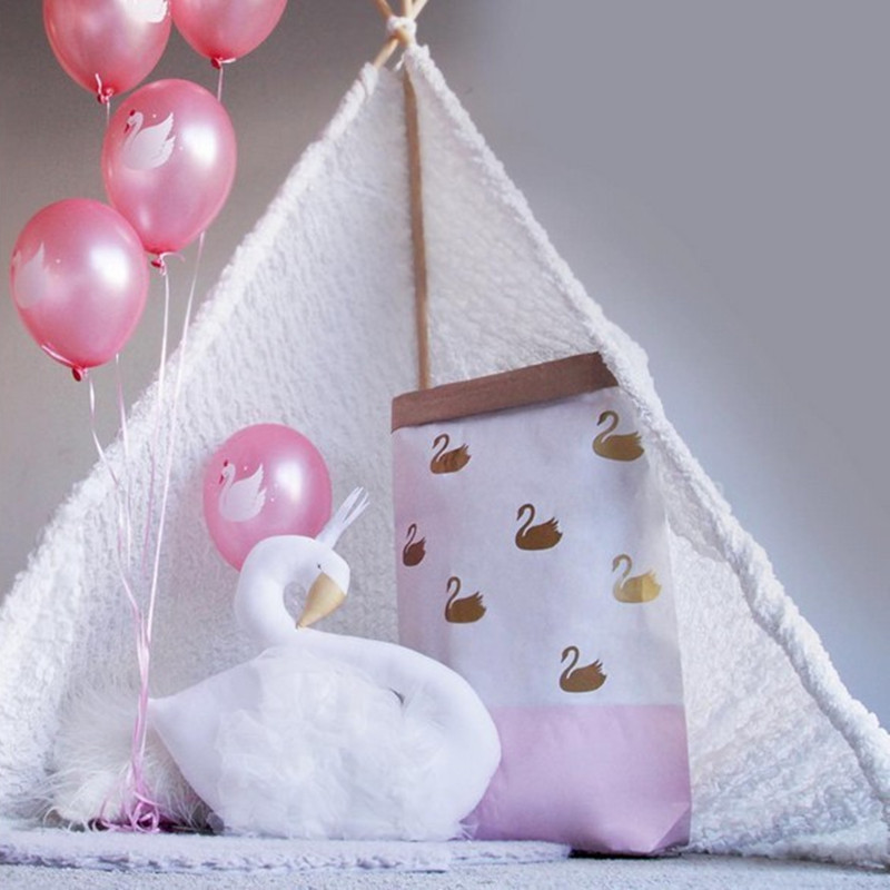 Cute Golden Crown Swan Wall Decor Doll Pink Princess Flamingo Soft Stuffed Toy Animal Head Wall Hanging For Kids Room Baby Gift #6