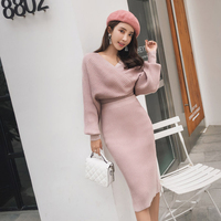 new fashion temperament comfortable soft warm top shirt pencil skirt wild fresh high quality trend bouncy knit thick women sets