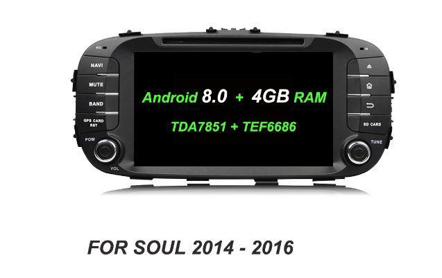 Carro DVD Player RDS Radio HD TDA7851 Android 8.0 Octa Núcleo 4 GB + 32 GB Bluetooth Wifi GPS Glonass mapa Para kia SOUL 2014 2015 2016