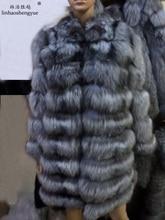 Linhaoshengyue Silver fox long sleeve length 90 cm fur coat