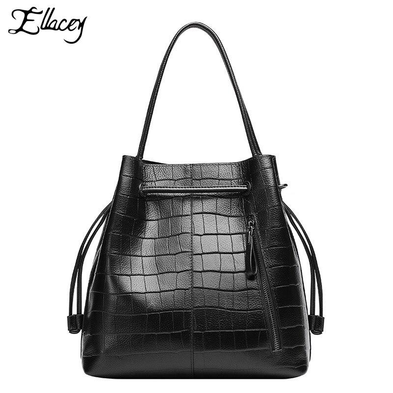 ФОТО ELLACEY Brand 100% Real Genuine Leather Bag Vintage Handbag Womens Medium Tote Bags Female Crossbody Bags Fashion Women Handbag