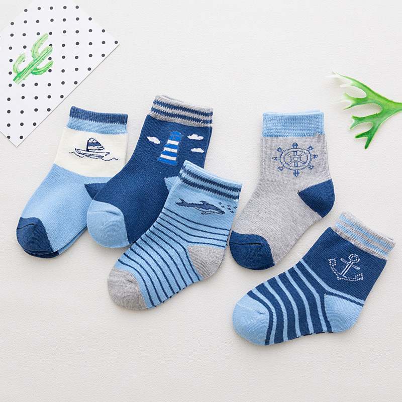 5 Pair/lot Baby Socks Neonatal Summer Mesh Cotton Polka Dots Plain Stripes Kids Girls Boys Children Socks For 1-12 Year