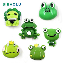 6pcs Cartoon Green Frogs Fridge magnet cartoon animal whiteboard Resin Refrigerator Magnets child Home DIY Decoration Acessories
