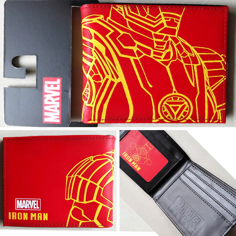 2018 2018 hot sale Marvel Comics Iron Man body Logo wallets Purse Red Plastic Leather Classic W006 2018 epic game gears of war logo wallets purse red leather man women new w135
