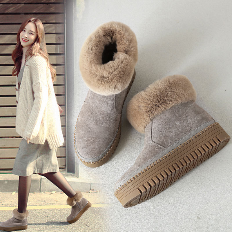 Winter Boots Women Cow Suede Leather Rabbit Fur Warm Ankle Snow Boots Thick Heels Platform Zipper Casual Shoes Botas Femininas