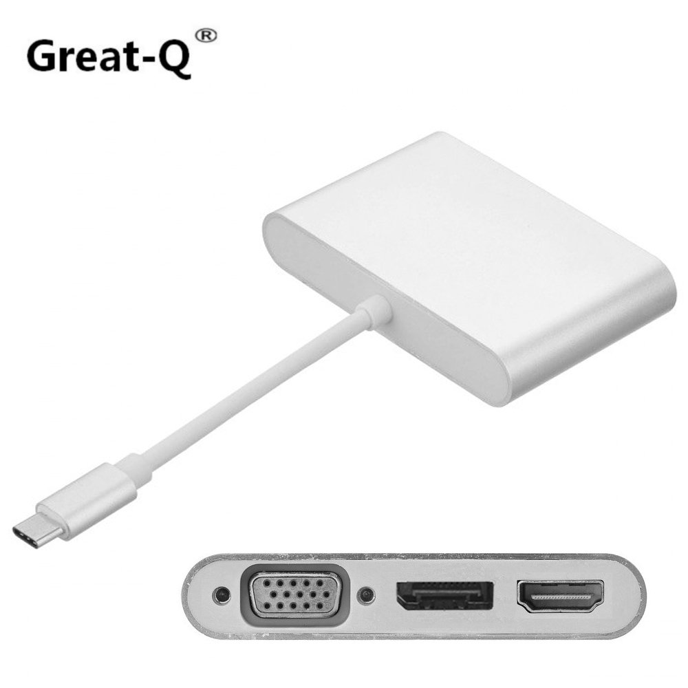 Great-Q Combo 3 in 1 USB-C USB 3.1 Type C to HDMI Digital AV & VGA & DP DisplayPort Adapter for Laptop & Notebook 2w 025 06 2 way brass air gas water solenoid valve 1 8 bsp normal close dc12v dc24v ac110v ac220v