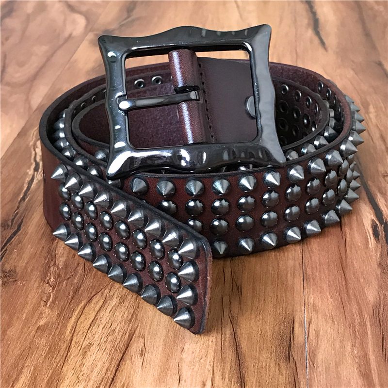 Genuine Leather Heavy Metal Rivet Punk   Belts   For Men Rock Stud Cowboy   Belt   Men Ceinture Homme Waist   Belt   Cinturon Mujer TBT0088