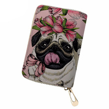 NOISYDESIGNS Women PU Leather ID Card Holder Pug Dog Print Credit Ladies Driving License Cover Fashion Wallet