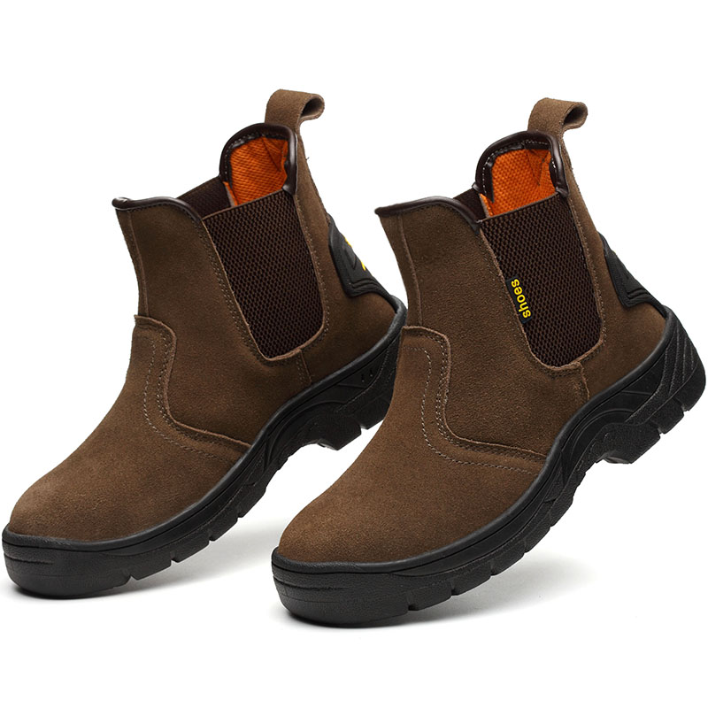 Mens Casual Big Size Welder Dress Steel Toe Caps Working Safety Welding Shoes Spring Autumn Genuine Leather Platform Ankle Boots