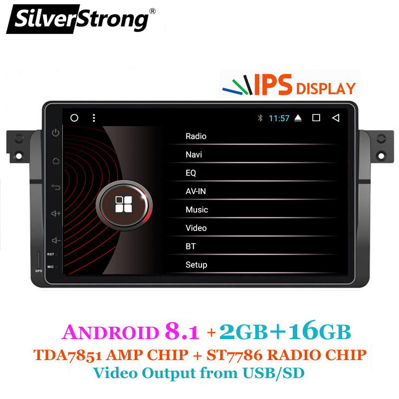 SilverStrong IPS Affichage Android8.1 Voiture Radio 9 pouces pour BMW E46 M3 3 Série 1DIN Radio 318 320 328 Avec RDS DAB Option