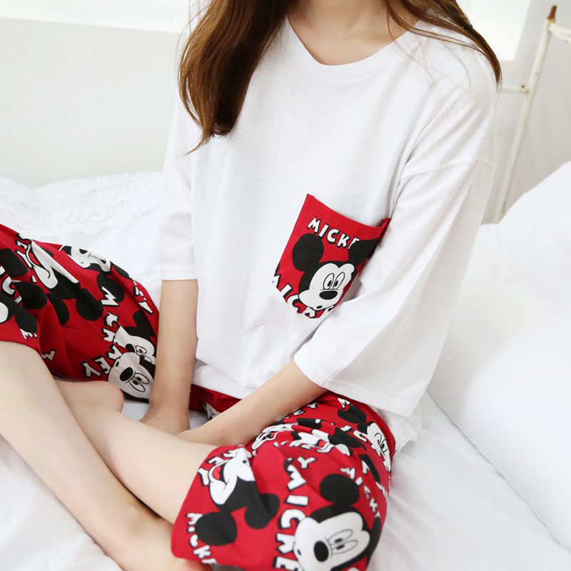 New Spring Sumemr Women Ladies Mickey Pajamas Suit Home Wear Lovely Short Sleeve Comfortable Girl Pijamas Mujer Sleepwear