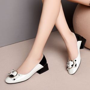 Image 2 - ALLBITEFO fashion brand genuine leather low heeled comfortable women shoes high quality mixed colors office ladies shoes