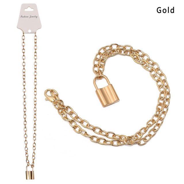 Punk Necklace Jewelry Gold...