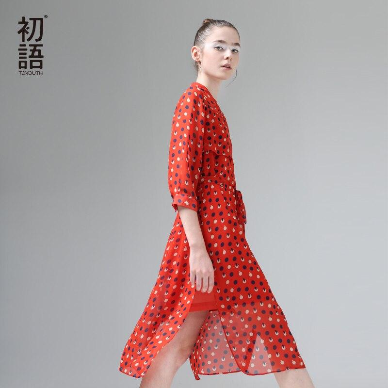 Toyouth 2017 nueva llegada del verano gasa de las mujeres vestidos de cuello mao