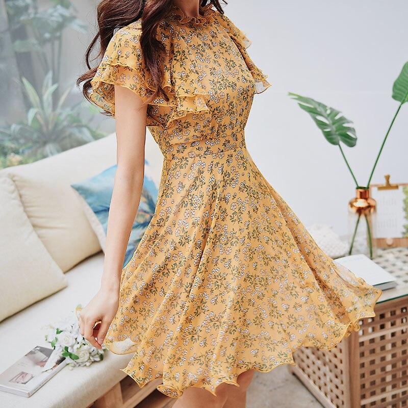 Dabuwawa Women Summer Butterfly Sleeve Floral Dress 2019 New Elegant Print A line Fairy Dress Elegant Short Dress DN1BDR014-in Dresses from Women's Clothing    3