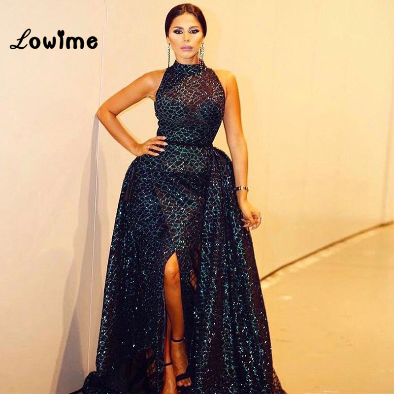 Black Arabic Evening Gown Two Piece Dubai Turkish Women Party Dress ...