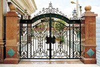 Henchuang customs wrought iron gate forged iron gates villa wrought iron gates steel metal gates