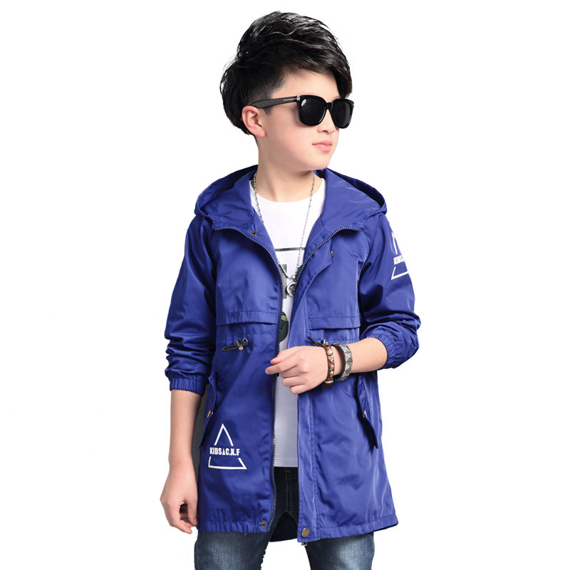 Teenager Boys Windbreaker Trench 2019 New Autumn 100%Cotton Long Sleeve Hooded Outerwear School Children Trench Jackets 5-16Y