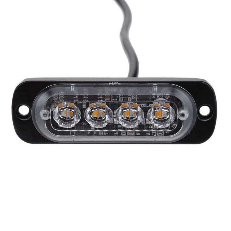 4 Led Strobe Warning Light Strobe Grille Flashing Lightbar Truck Car Beacon Lamp Amber Blue Red Traffic Light New 0259