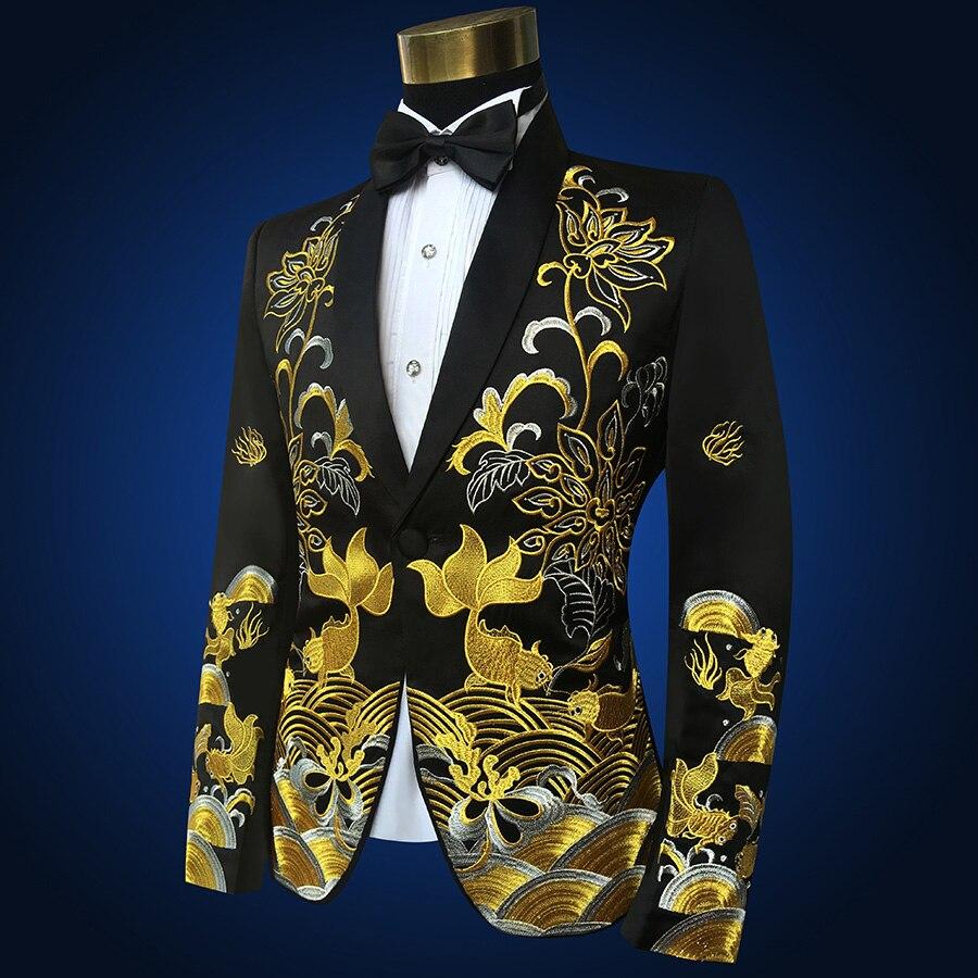 Dos homens de colarinho xale Vermelho Dois Peça de Ouro Bordado Ternos Calças Set Fino Fase Cantor Mostrar Trajes Jaqueta Preta (Jacket + Pants + tie) - 5
