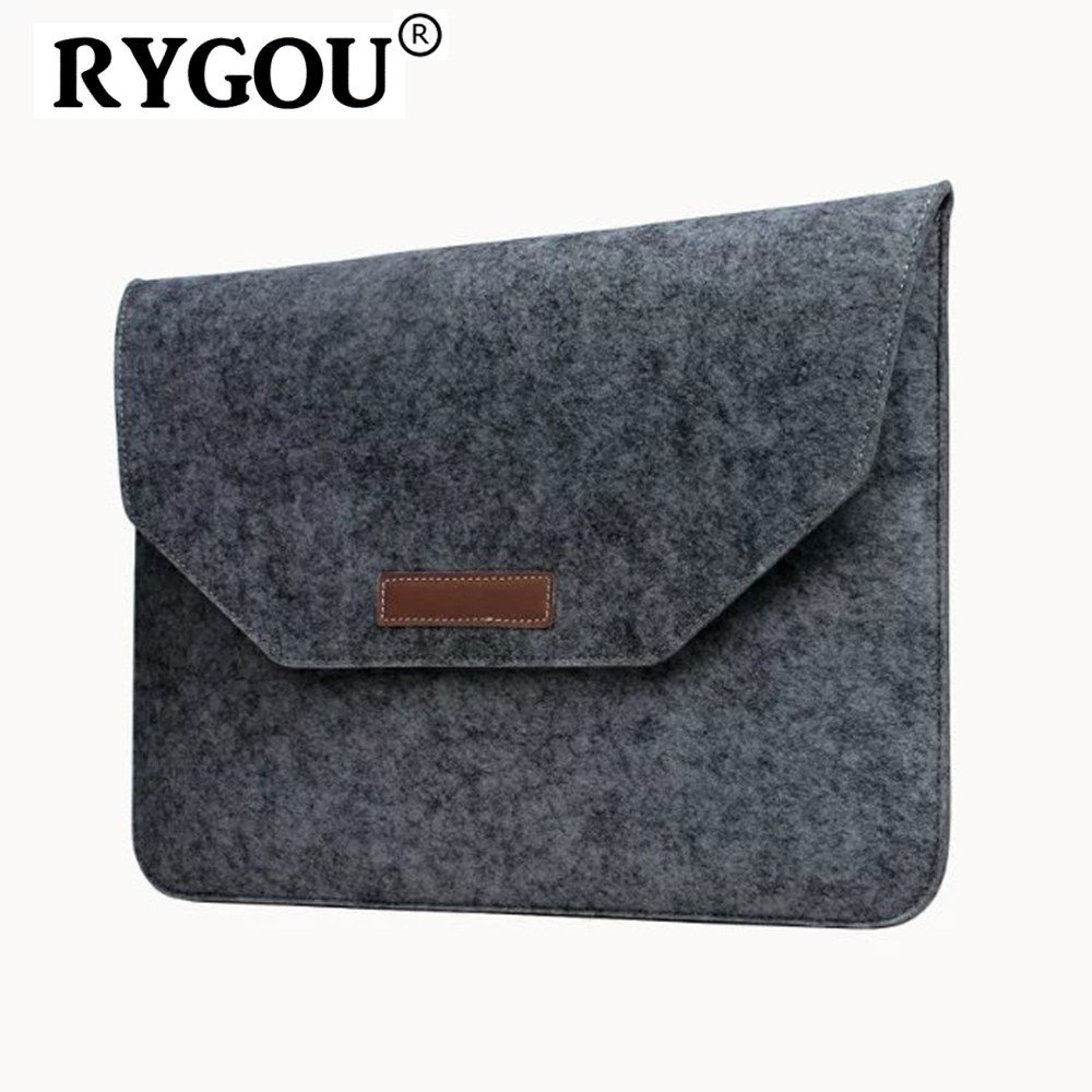RYGOU Laptop Sleeve Felt Envelope Cover Carrying Case With Mouse Pouch For Macbook Air Pro Retina 11 12 13 15 Inch Ultrabook Bag