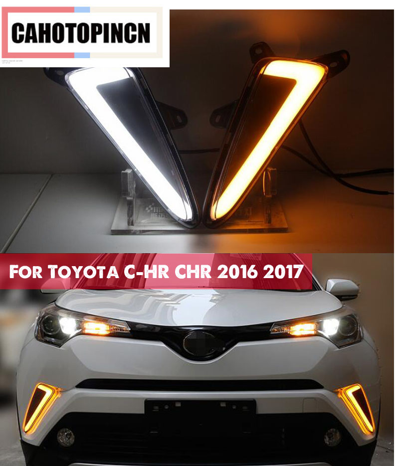 For Toyota C HR CHR 2016 2017 Yellow turn Signal Style Relay Waterproof ABS Car DRL